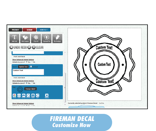 Fireman Decal with customiza Now